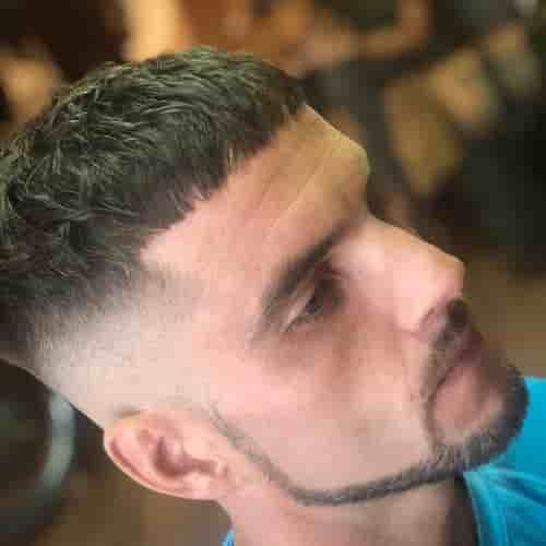 HIGH FADE + CHIN STRAP BEARD + CONNECTED MUSTACHE