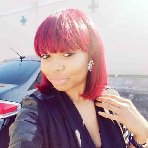RED OMBRE TINT SHOULDER LENGTH WITH BANG HAIRCUT