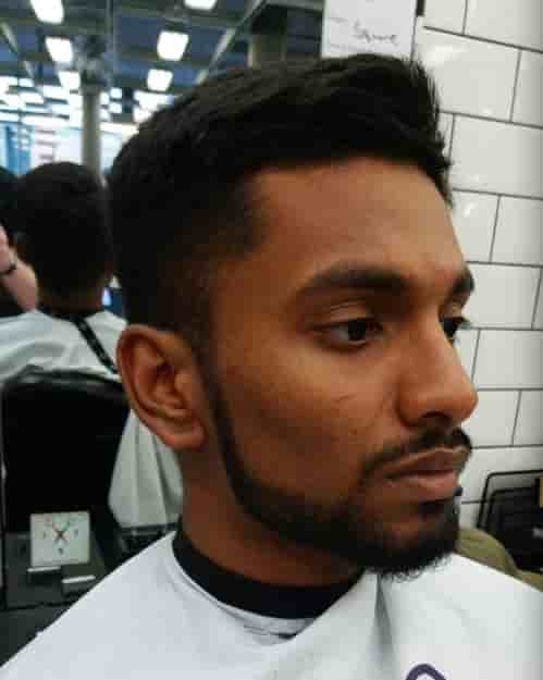 TEXTURED UNDERCUT + THIN SIDEBURN WITH CONNECTED MUSTACHE