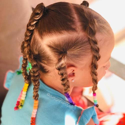 TRIANGULAR BRAID FOR KIDS WITH CURL