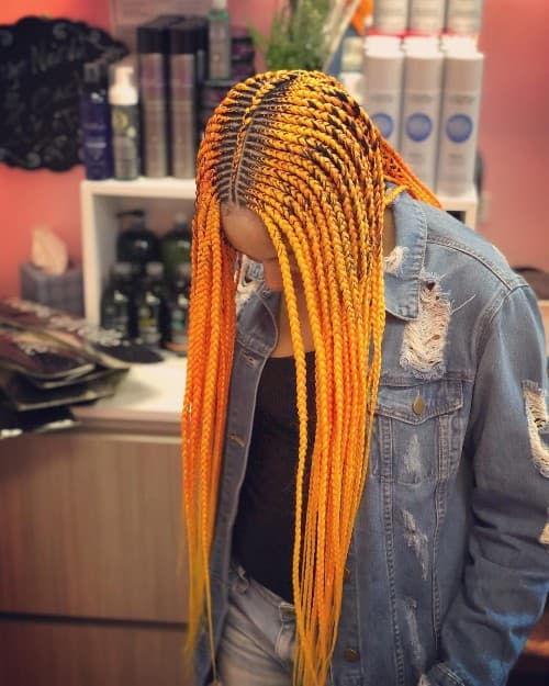 BLACK AND ORANGE OMBRE GHANA BRAID