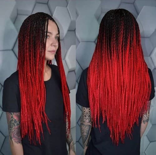 BLACK WITH RED SIMPLE BRAID STYLE