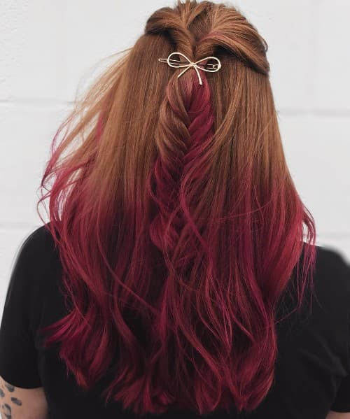 BLACK TO DARK RED + HIDDEN FISH TAIL STYLE