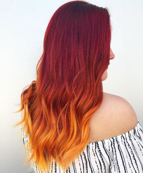 COARSE DARK RED TO BLONDE OMBRE HAIR COLOR