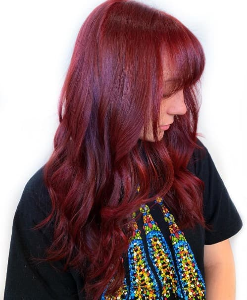 FADING RED OMBRE HAIR COLOR WITH BANGS
