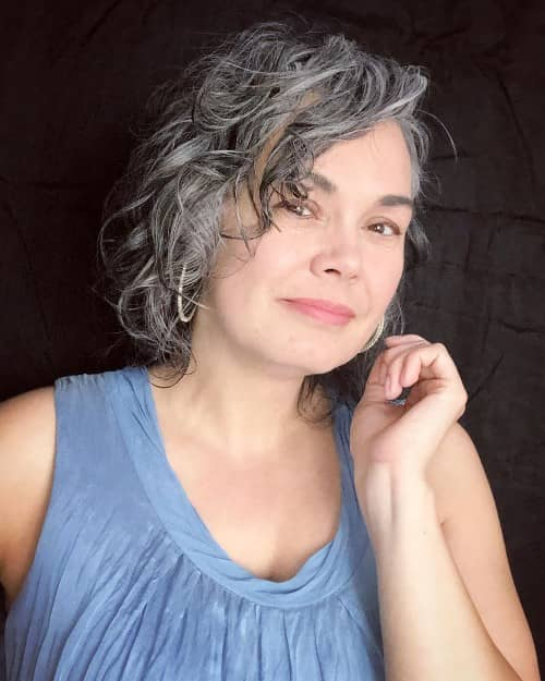 Natural Gray Hair color - curly hair color ideas