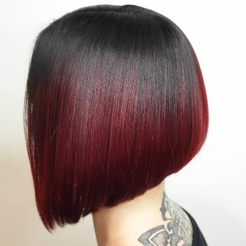 NATURAL BLACK WITH RED COLOR FOR JAWLINE BOB HAIRCUT