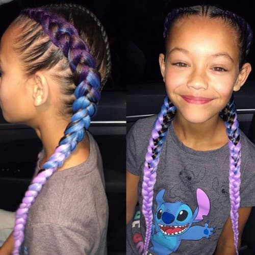 PURPLE TO BLUE AND BLACK CHUNKY FRENCH BRAID FOR KIDS