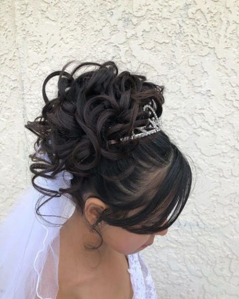 Curly High Prom Updo With Bangs