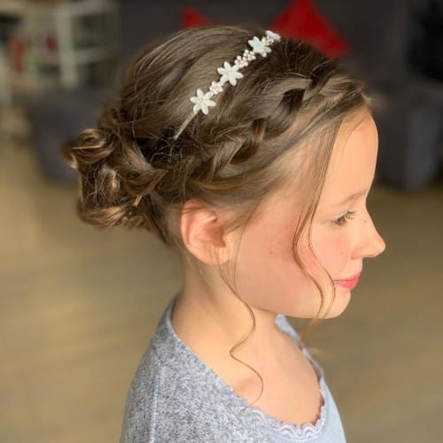 Easy Crown Braid With Low Bun