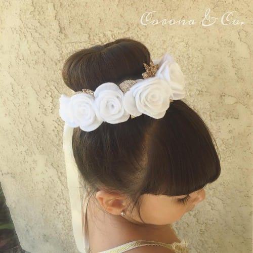 Flat-Top Updo Bun With Bangs Hairstyle