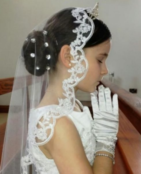 Low Bubble Bun Style For First Holy Communion