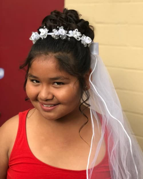 Communion Twisted Prom Updo Hairstyle For Chubby Kids