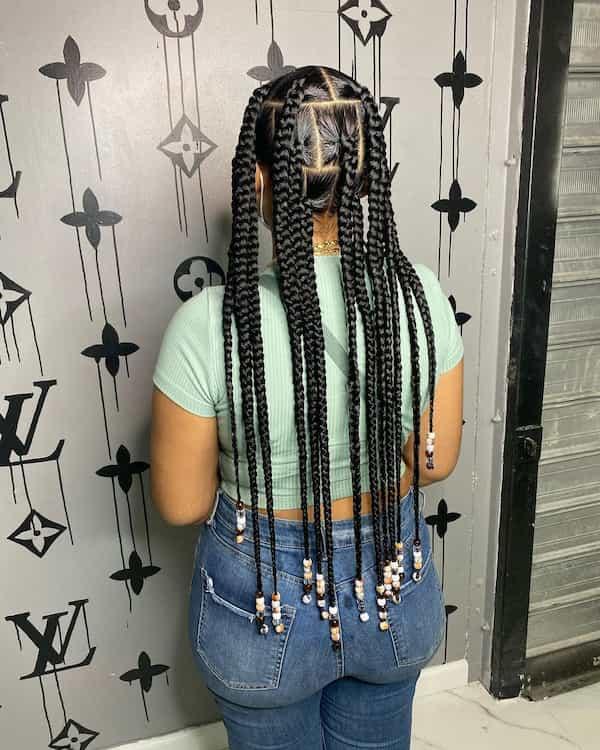 Butt Length Knotless Jumbo Braid