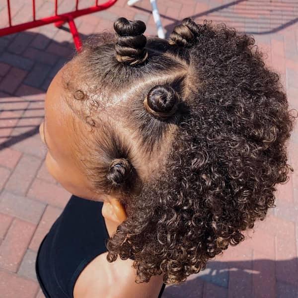 Half Up Half Down Bantu Knots on Curly Hair