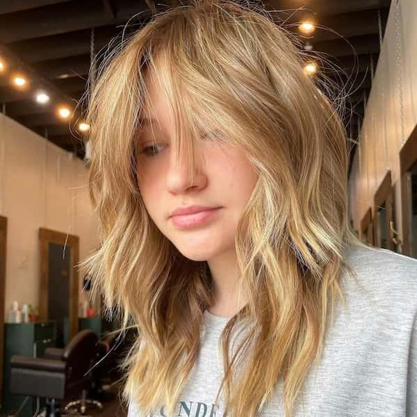Blonde Shag Cut